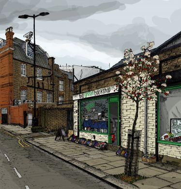 Signed Limited Edition Print of The Big Green Bookshop by Zoom Rockman